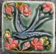 Swallow in a cherry blossom tile (face left)  by Verdant tile
