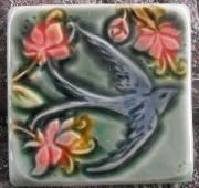 Swallow in a Cherry Blossom tree tile (face right) by Verdant Tile