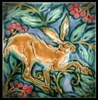 Tentative Hare in Rowan Berries. Blue-pink colourway by Verdant Tile