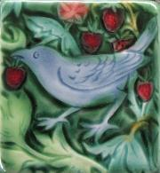 Strawberry Thief Bird Tile. copyright Verdant Tile.