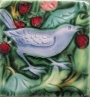 Morris Inspired Strawberry Thief birds Tiles. Copyright (my interpretation) Verdant Tile.
